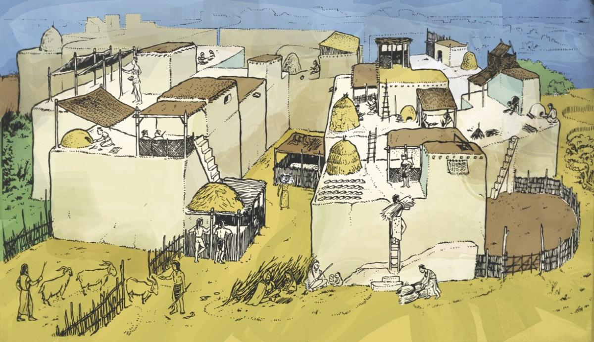 Reconstruction of Ҫatalhöyük showing the importance of the roof spaces. Illustration by John Swogger.