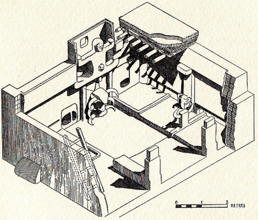 Reconstruction of the north and west walls of a Çatalhöyük building. Illustration by Grace Huxtable.