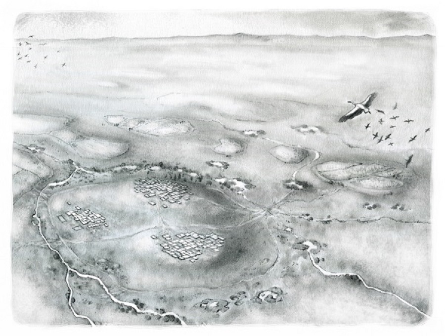 Illustration depicting the East and West Mounds. Illustrated by Kathryn Killackey.
